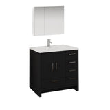 "Fresca Imperia 36"" Dark Gray Oak Free Standing Modern Bathroom Vanity w/ Medicine Cabinet - Right Version - BathVault"
