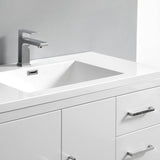 "Fresca Imperia 36"" Glossy White Free Standing Modern Bathroom Vanity w/ Medicine Cabinet - Right Version - BathVault"