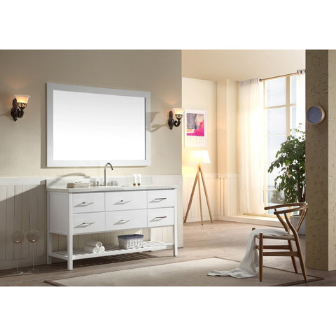 "ARIEL Shakespeare 61"" Single Sink Vanity Set in White G061S-WHT - BathVault"