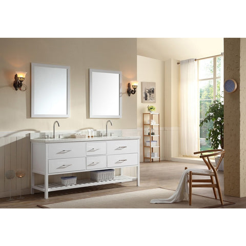 "ARIEL Shakespeare 73"" Double Sink Bathroom Vanity Set G073D-WHT - BathVault"