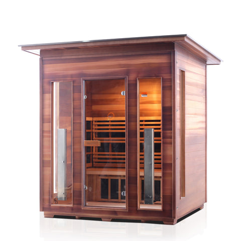 Enlighten RUSTIC - 4 Slope Full Spectrum Infrared Sauna - BathVault