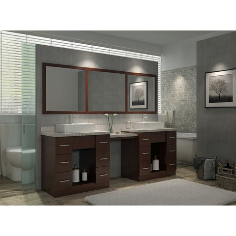 "ARIEL Roosevelt 97"" Double Sink Vanity Set in Walnut J097D-WLNT - BathVault"