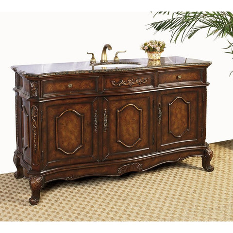 "Legion Furniture LF12 Single Sink 60"" Vanity Antique Brown - BathVault"