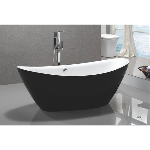 "MTD Vanities Black Exterior Newport 67"" Freestanding Acrylic Bathtub - BathVault"