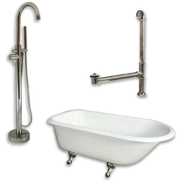 "Cambridge Plumbing Cast-Iron Rolled Rim Clawfoot Tub Package 55"" X 30"" - BathVault"