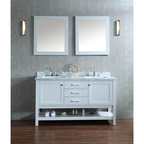 "Seacliff by ARIEL Bayhill 60"" Double Sink Vanity Set in Cloud Grey SC-BAY-60-SCG - BathVault"