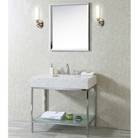 "Seacliff by ARIEL Brightwater 36"" Single Sink Vanity Quartz SC-BRI-36-PSS-CQ - BathVault"