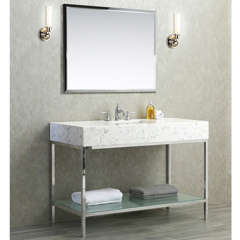 "Seacliff by ARIEL Brightwater 48"" Single Sink Vanity Set Quartz SC-BRI-48-PSS-CQ - BathVault"