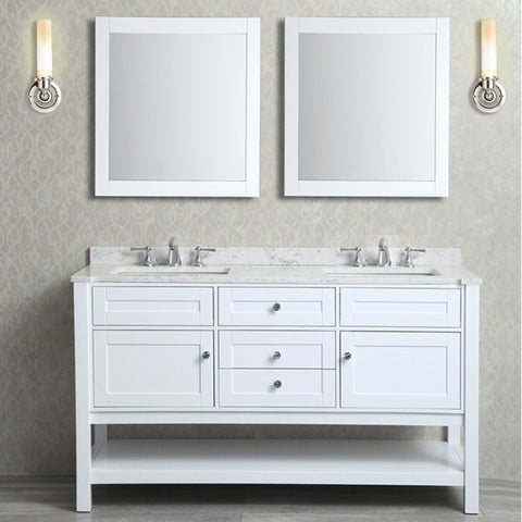 "Seacliff by ARIEL Mayfield 60"" Double Sink Vanity Set in White SC-MAY-60-SWH - BathVault"