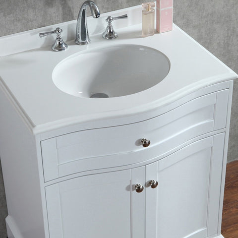 "Seacliff by ARIEL Montauk 30"" Single Sink Vanity Set in White SC-MON-30-SWH - BathVault"