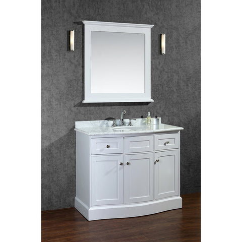 "Seacliff by ARIEL Montauk 42"" Single Sink Vanity Set in White SC-MON-42-SWH - BathVault"