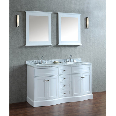 "Seacliff by ARIEL Montauk 60"" Double Sink Vanity Set in White SC-MON-60-SWH - BathVault"