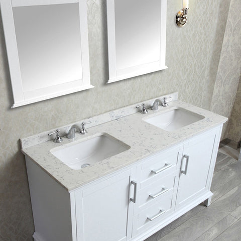 "Seacliff by ARIEL Nantucket 60"" Double Sink Vanity Set in SC-NAN-60 - BathVault"