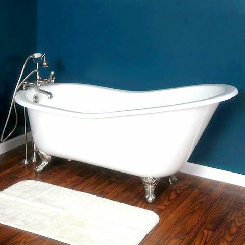 "Cambridge Plumbing Cast Iron Slipper Clawfoot Tub 61"" X 30"" - BathVault"