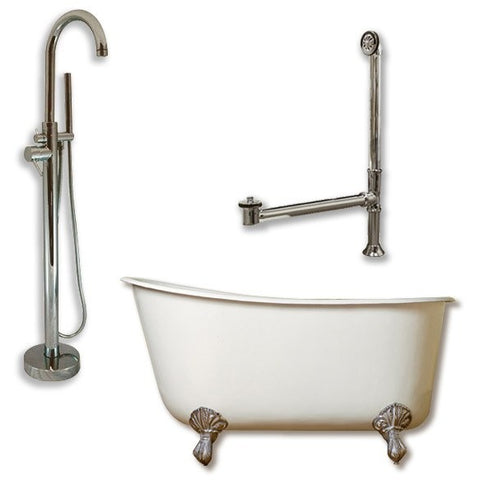 "Cast Iron Swedish Slipper Tub Package 58"" X 30"" - BathVault"