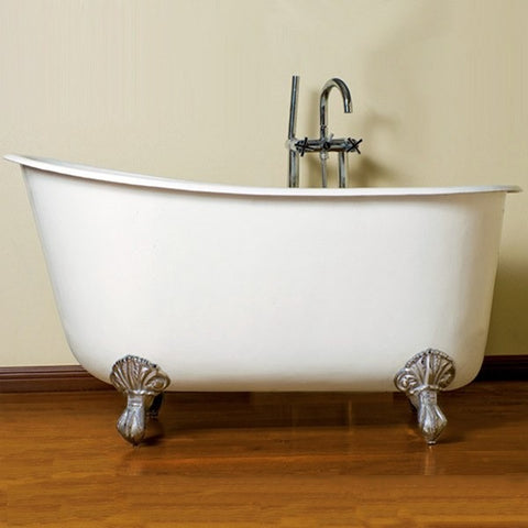 "Cambridge Plumbing Cast Iron Swedish Slipper Tub 58"" X 30"" w/ No Faucet - BathVault"
