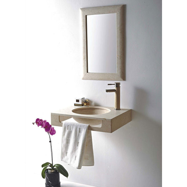"MTD Vanities Stone Undermount Sink - Marble Rome 24"" Wall Mount - BathVault"