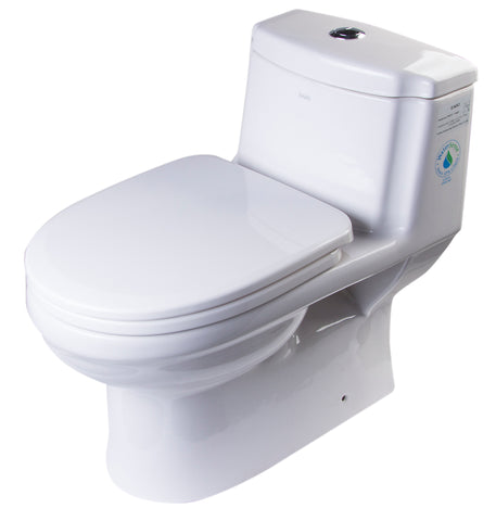 Eago 1-Piece 1.1/1.6 GPF Dual Flush Elongated Toilet in White - BathVault