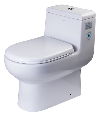 Eago 1-Piece 0.8/1.28 GPF Dual Flush Elongated Toilet in White - BathVault
