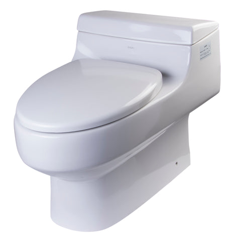 Eago 1-Piece 1.6 GPF Single Flush Elongated Toilet in White - BathVault