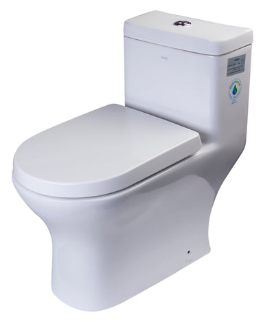 Eago 1-Piece 0.8/1.6 GPF Dual Flush Elongated Toilet in White - BathVault