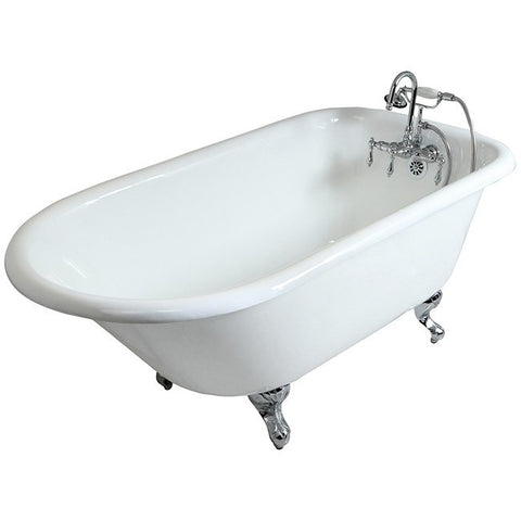 "Kingston Brass with 3-3/8"" Drillings Aqua Eden 60 "" Freestanding/Clawfoot Tub - BathVault"