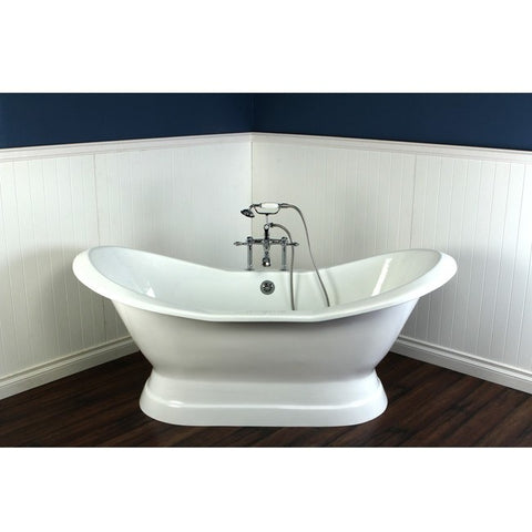 "Kingston Brass Pedestal/Double Slipper Aqua Eden 72"" Freestanding/Clawfoot Tub - BathVault"