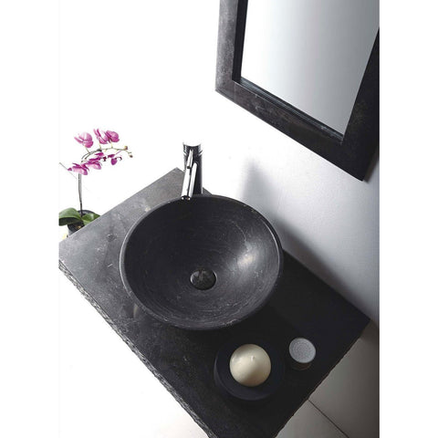 "MTD Vanities Rome 36"" Single Vessel Sink Wall Mount Blue Stone Vanity Set - BathVault"