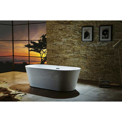 "Virtu USA Serenity VTU-1170 70"" x 31.5""  Freestanding Soaking Bath Tub - BathVault"