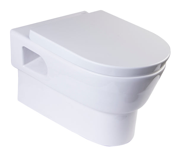 Eago Wall Mount 1-Piece 0.8/1.6 GPF Dual Flush Elongated Toilet Bowl Only in White - BathVault