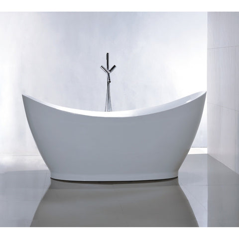"Legion Furniture 67.7"" White Freestanding Acrylic Tub - WE6513 - BathVault"