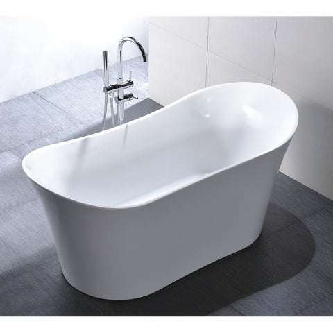 "Legion Furniture 67"" White Freestanding Double Slipper Tub - WE6805 - BathVault"