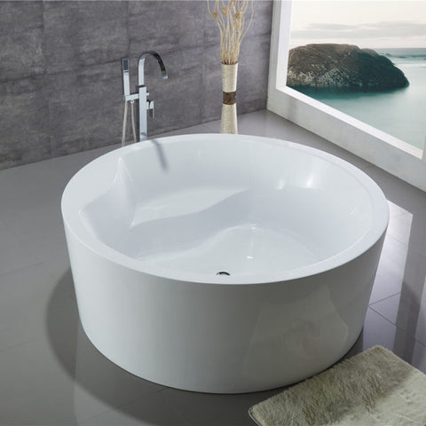 "Legion Furniture 59"" White Freestanding Round Tub - WE6810 - BathVault"