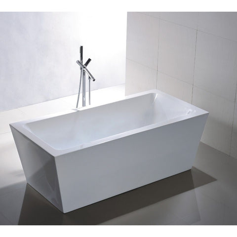 "Legion Furniture 67"" Doubled Ended Freestanding Tub WE6814 - White Acrylic - BathVault"