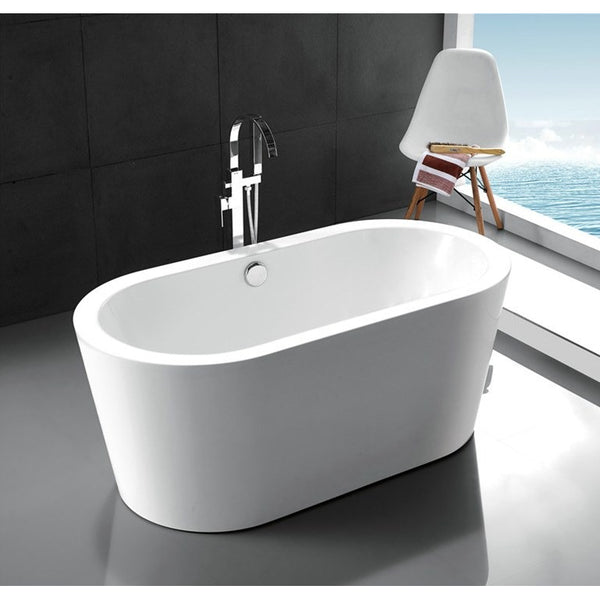 Legion Furniture Freestanding Bathtub - White Ellipse WE6841 - BathVault