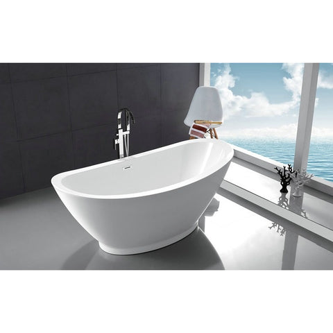 "Legion Furniture 69"" Freestanding Tub - White Acrylic Double Ended - BathVault"