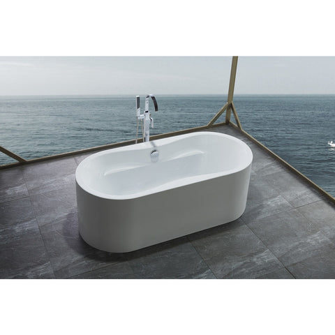 "Legion Furniture Freestanding Soaking Tub - 66"" White Acrylic WE6847 - BathVault"