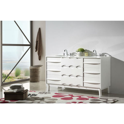 "Legion Furniture 60"" White Bathroom Vanity WH5060 Ceramic - BathVault"