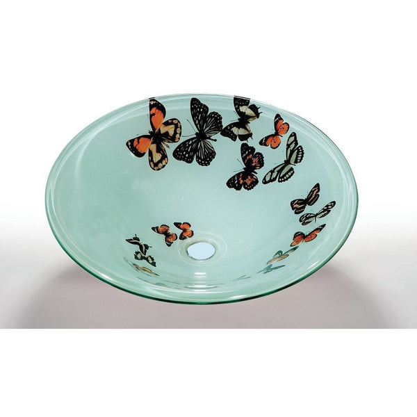 Legion Furniture Tempered Glass Vessel Sink Bowl - Butterfly Frosted ZA-107-1 - BathVault