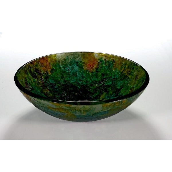 Legion Furniture Tempered Glass Vessel Sink Bowl - Butterfly and Green ZA-107 - BathVault