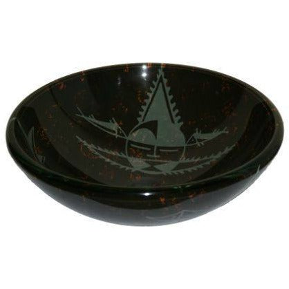 Legion Furniture Tempered Glass Vessel Sink Bowl - Black and Gray ZA-11 - BathVault