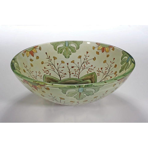 Legion Furniture Tempered Glass Vessel Sink Bowl - Floral Spring ZA-129 - BathVault