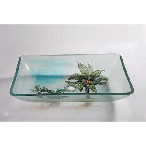Legion Furniture Tempered Glass Vessel Sink Bowl - Coconut Tree ZA-133 - BathVault