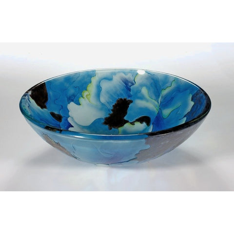 Legion Furniture Tempered Glass Vessel Sink Bowl - Blue Leaf ZA-137 - BathVault