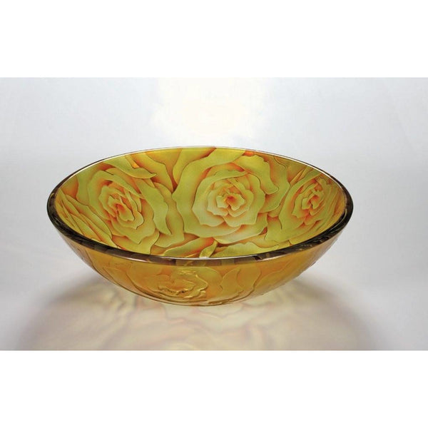 Legion Furniture Tempered Glass Vessel Sink Bowl - Yellow Rose ZA-169 - BathVault