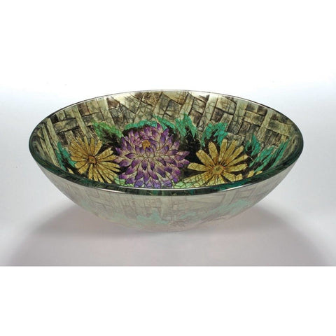 Legion Furniture Tempered Glass Vessel Sink Bowl - Floral in Autumn ZA-182 - BathVault