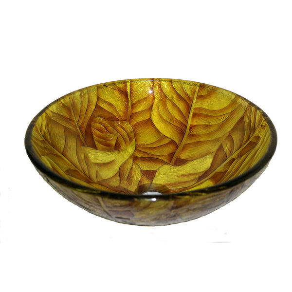 Legion Furniture Tempered Glass Vessel Sink Bowl - Yellow Leaf ZA-203 - BathVault