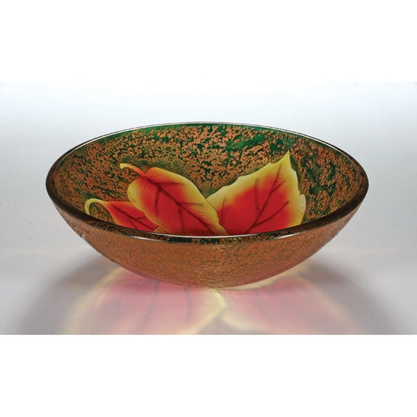Legion Furniture Tempered Glass Vessel Sink Bowl - Autumn Leaf ZA-204 - BathVault