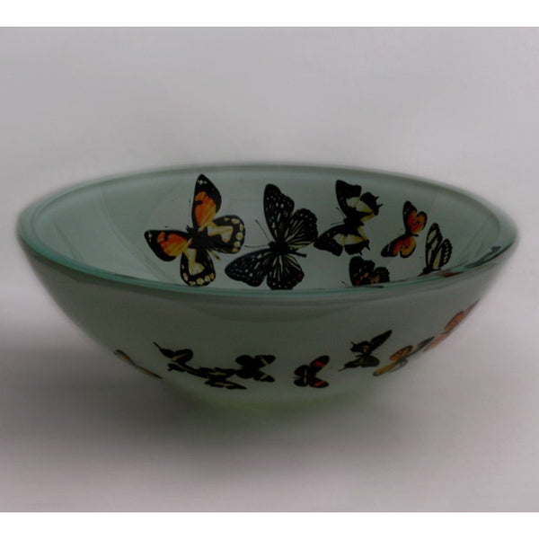 Legion Furniture Tempered Glass Vessel Sink Bowl - Butterfly Frosted ZA-20 - BathVault