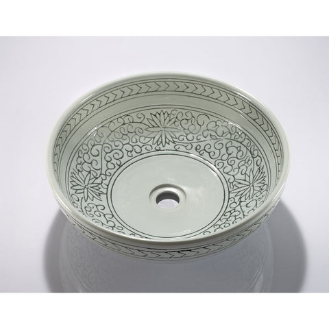 Legion Furniture Porcelain Vessel Sink Bowl - Light Green Flower, Off White ZA-225 - BathVault